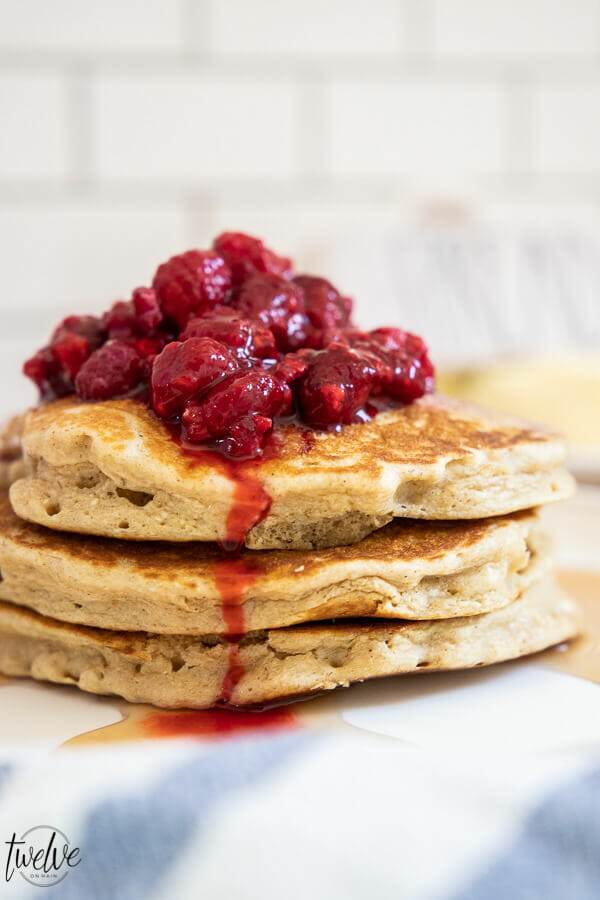 Make these amazing healthy, light, and fluffy oatmeal pancakes today! They will change your mornings! The oatmeal helps you feel full longer and with 14 grams of protein, you are sure to get that energy you need for a busy day. These are a great alternative to traditional pancakes.