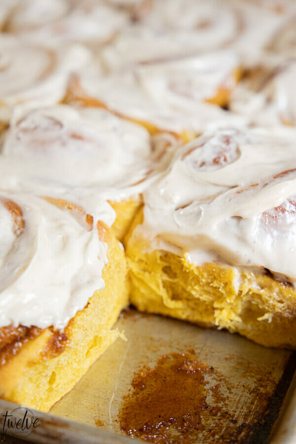 Amazing pumpkin cinnamon rolls are the perfect fall treat! Get the recipe right now!