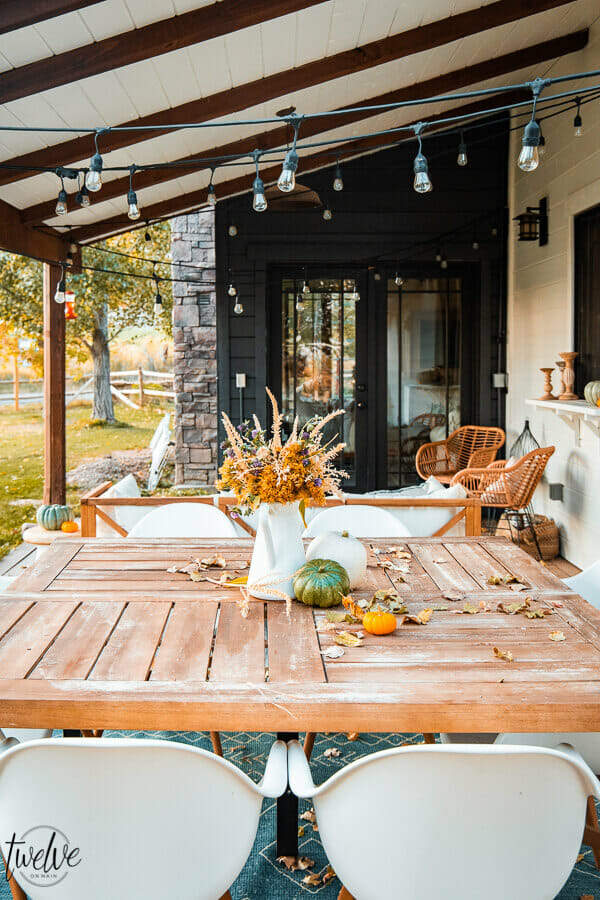 Fall decor on the back porch
