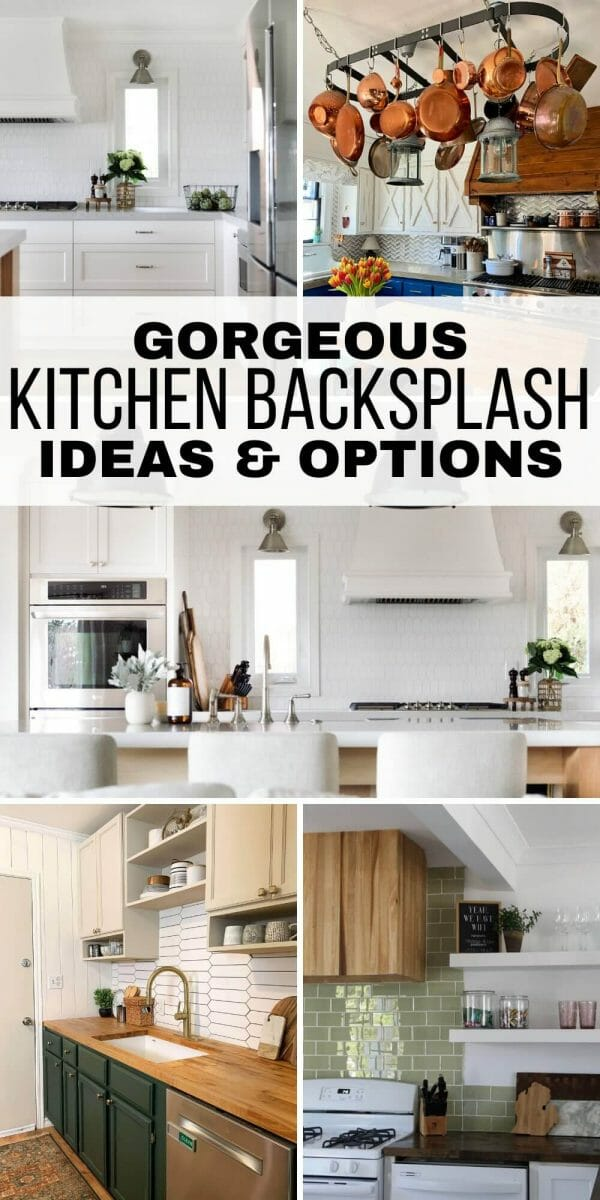 Gorgeous kitchen backsplash ideas from simple to elaborate, affordable to expensive, and how to choose the right material for your home. See the many different options available for home owners and even renters can use!